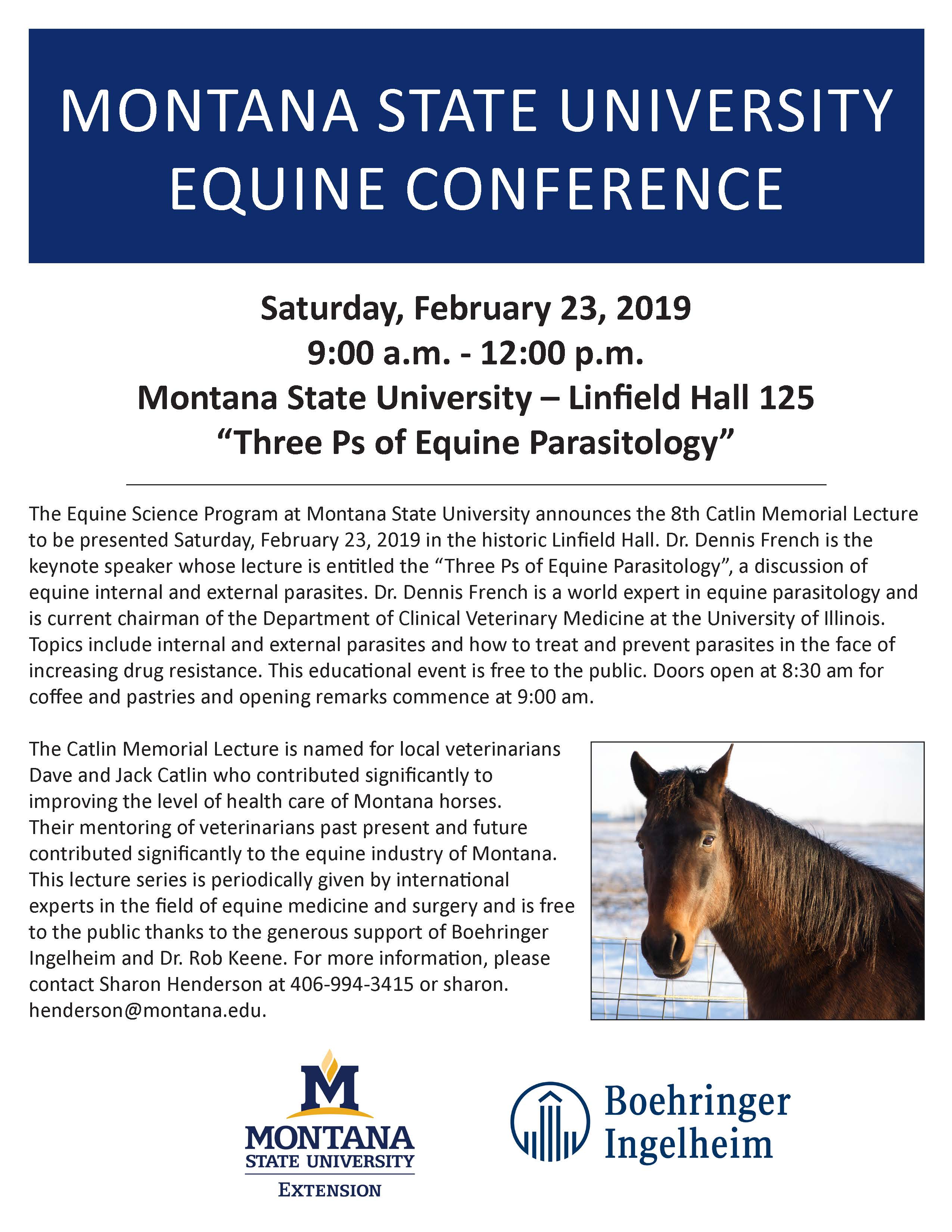 A flyer for the 2019 Equine Conference on the Three Ps of Equine Parasitology